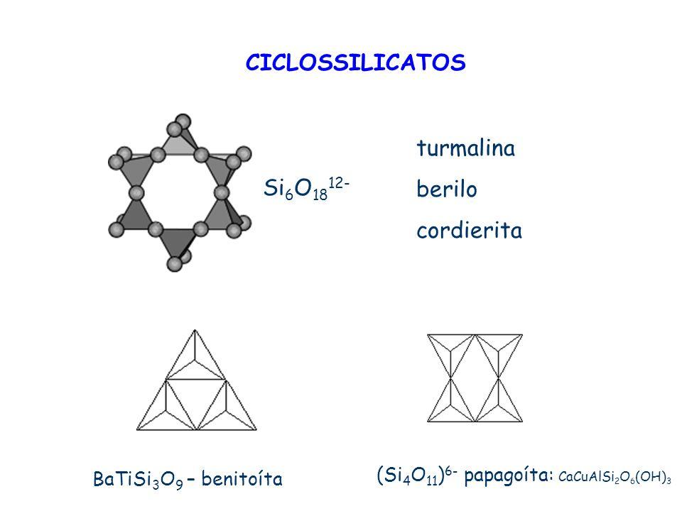 CICLOSSILICATOS Si 6 O 18 12- BaTiSi 3 O 9 – benitoíta (Si 4 O 11 ) 6- papagoíta: CaCuAlSi 2 O 6 (OH) 3 turmalina berilo cordierita