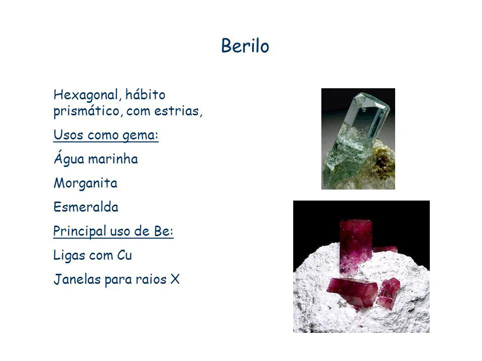 Berilo Hexagonal, hábito prismático, com estrias, Usos como gema: Água marinha Morganita Esmeralda Principal uso de Be: Ligas com Cu Janelas para raio