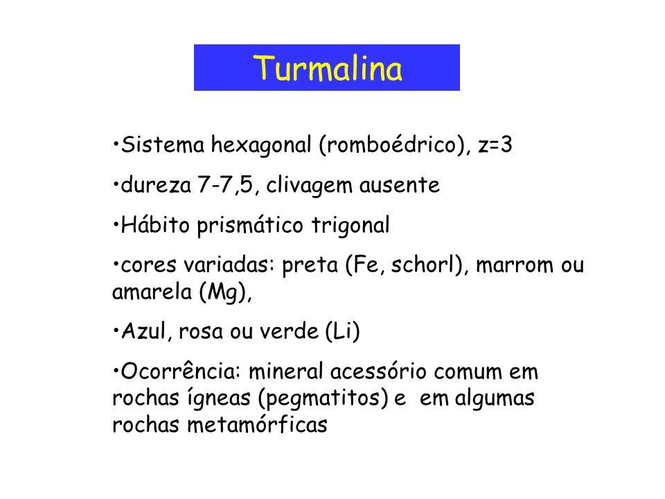 Turmalina Sistema hexagonal (romboédrico), z=3 dureza 7-7,5, clivagem ausente Hábito prismático trigonal cores variadas: preta (Fe, schorl), marrom ou