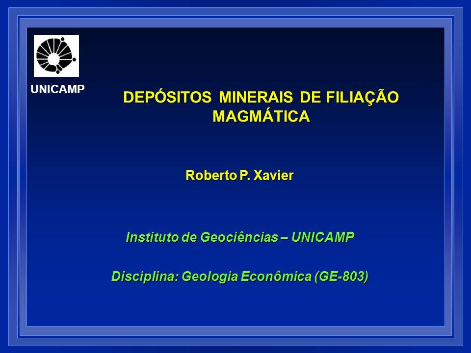 DEPÓSITOS MINERAIS MAGMÁTICOS: PEGMATITOS Cr, Ti, V,Fe (ox) Ni,Cu, EGP (Pt,Pd,Ir, Rh,Os,Ru) W-Mo- Sn-Cu- Mn-Ag- Au Zn-Pb- Sn-U-W Be-Nb- Ta-Li-ETR Geologia Econômica (GE-803) B,F,Cl,PO 4 2-, metais UNICAMP