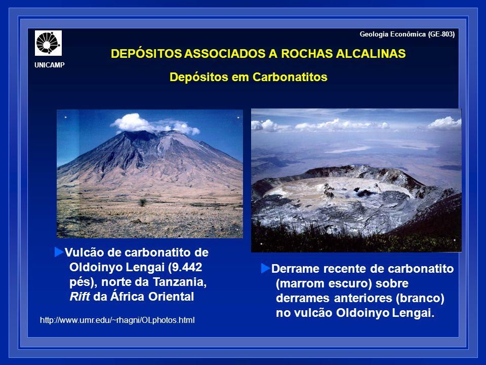 DEPÓSITOS ASSOCIADOS A ROCHAS ALCALINAS Depósitos em Carbonatitos Nb, Ta, REE, fosfatos e Cu: carbonatitos contêm a maioria das reservas e contribui com parcela significativa da produção mundial Mineralogia de minério: pirocloro (Na 3,Ca) 2 (Nb,Ti)(O,F) 7 + apatita (Ca 5 (F,Cl,OH)(PO 4 ) 3 + anatásio + columbita-tantalita (Fe,Mn)(Nb,Ta) 2 O 6 ± zircão ± magnetita minério disseminado, veios ou de substituição.