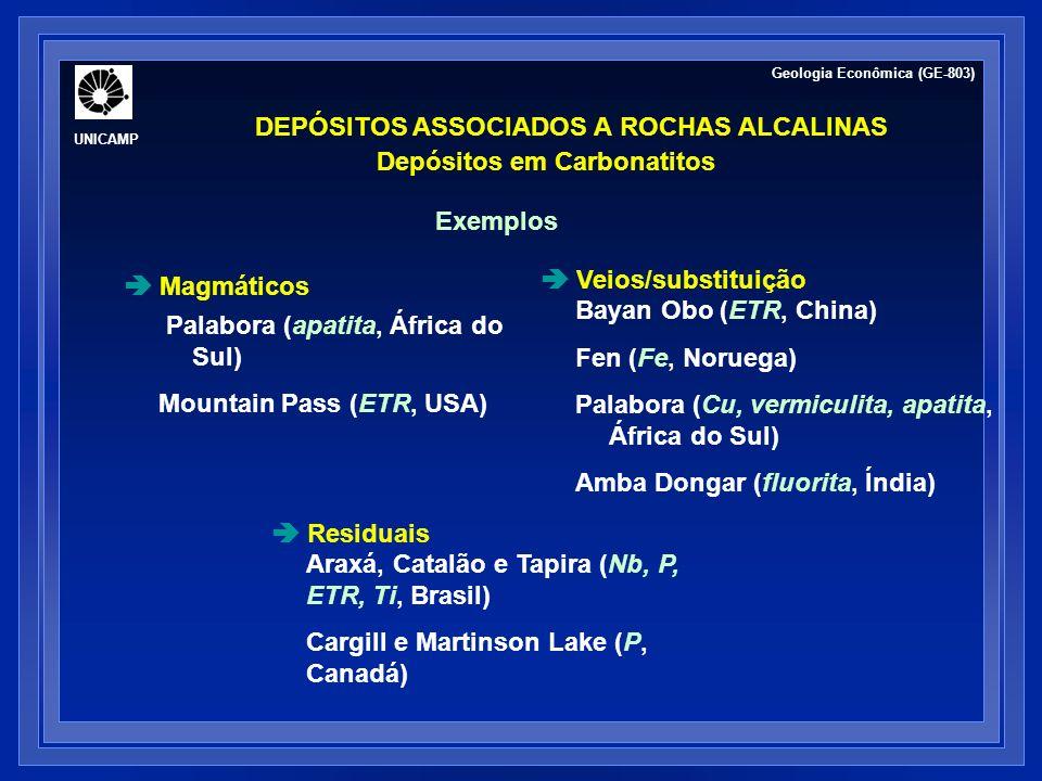 DEPÓSITOS ASSOCIADOS A ROCHAS ALCALINAS Depósitos em Carbonatitos Mapa geológico do Complexo de Palabora (2.0 Ga), África do Sul Depósitos hospedam-se em intrusões de carbonatito http://www.ersi.ca/mineral.html Geologia Econômica (GE-803) UNICAMP