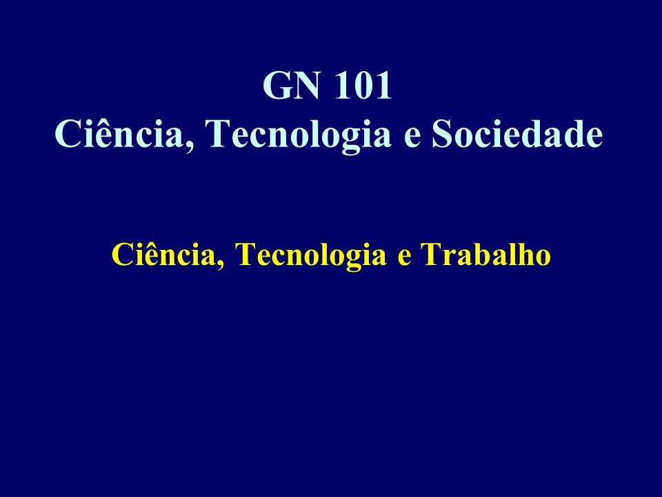 GN 101 Ciência, Tecnologia e Sociedade Ciência, Tecnologia e Trabalho