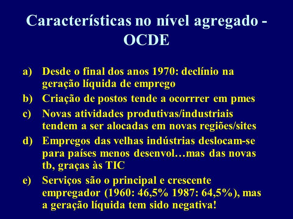 Características no nível agregado - OCDE a)Desde o final dos anos 1970: declínio na geração líquida de emprego b)Criação de postos tende a ocorrrer em
