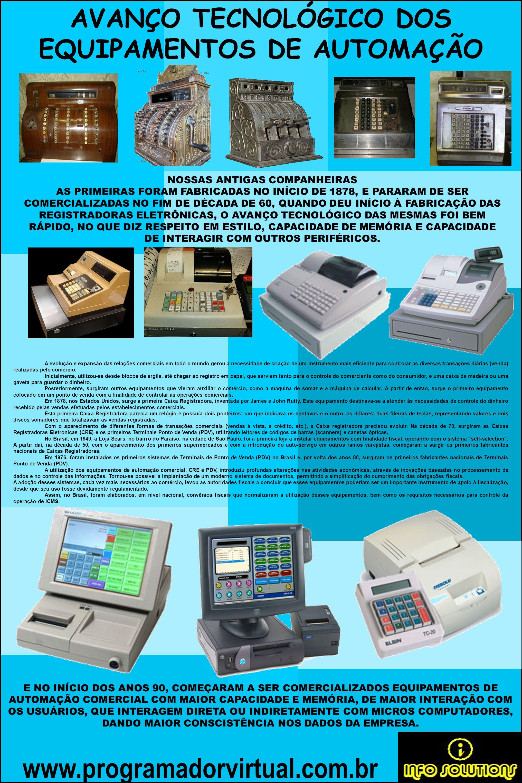 www.programadorvirtual.com.br AVANÇO TECNOLÓGICO DOS EQUIPAMENTOS DE AUTOMAÇÃO NOSSAS ANTIGAS COMPANHEIRAS AS PRIMEIRAS FORAM FABRICADAS NO INÍCIO DE 1878, E PARARAM DE SER COMERCIALIZADAS NO FIM DE DÉCADA DE 60, QUANDO DEU INÍCIO À FABRICAÇÃO DAS REGISTRADORAS ELETRÔNICAS, O AVANÇO TECNOLÓGICO DAS MESMAS FOI BEM RÁPIDO, NO QUE DIZ RESPEITO EM ESTILO, CAPACIDADE DE MEMÓRIA E CAPACIDADE DE INTERAGIR COM OUTROS PERIFÉRICOS.