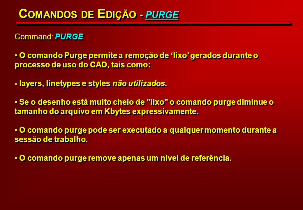 Command: PURGE O comando Purge permite a remoção de lixo gerados durante o processo de uso do CAD, tais como: - layers, linetypes e styles não utiliza