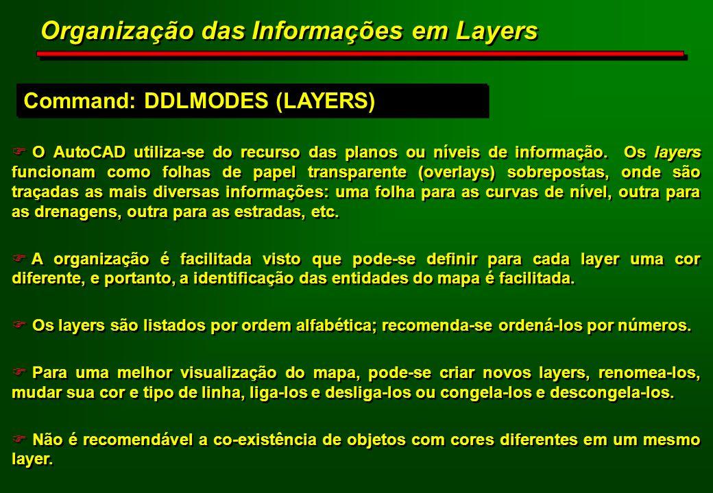 F O AutoCAD utiliza-se do recurso das planos ou níveis de informação. Os layers funcionam como folhas de papel transparente (overlays) sobrepostas, on