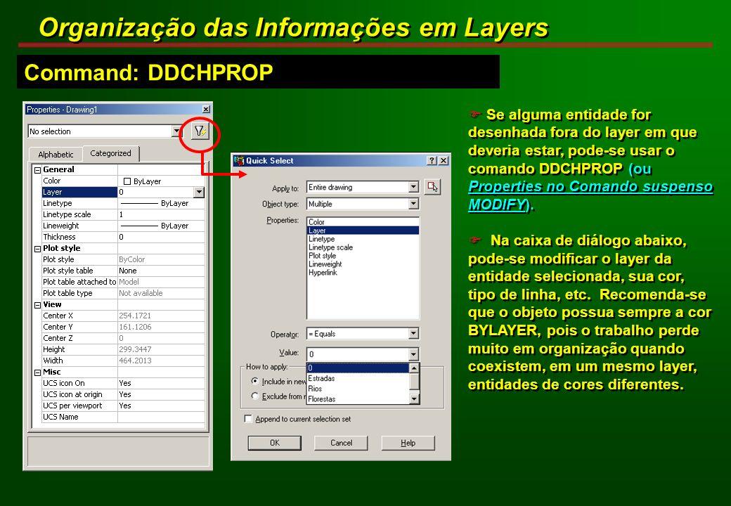 F Se alguma entidade for desenhada fora do layer em que deveria estar, pode-se usar o comando DDCHPROP (ou Properties no Comando suspenso MODIFY). F N