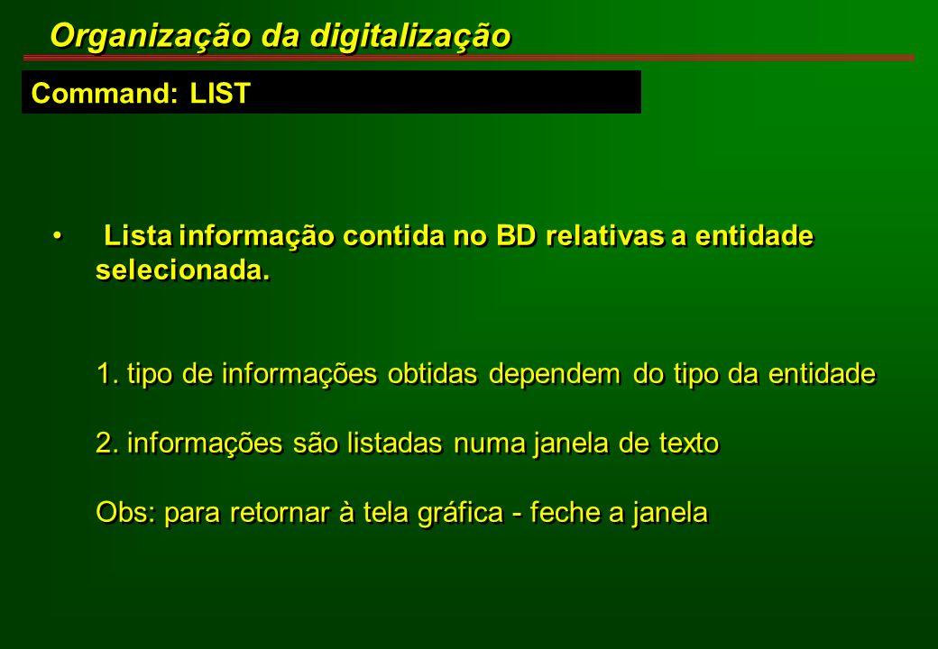Command: LIST Organização da digitalização Lista informação contida no BD relativas a entidade selecionada. 1. tipo de informações obtidas dependem do