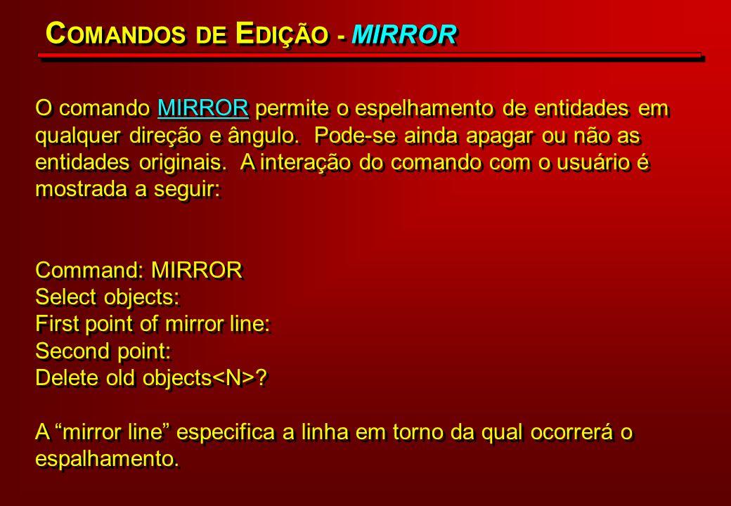 O comando MIRROR permite o espelhamento de entidades em qualquer direção e ângulo. Pode-se ainda apagar ou não as entidades originais. A interação do