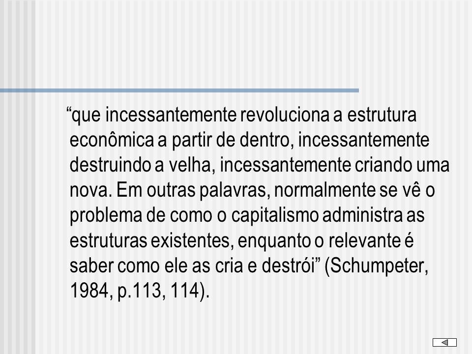 que incessantemente revoluciona a estrutura econômica a partir de dentro, incessantemente destruindo a velha, incessantemente criando uma nova. Em out