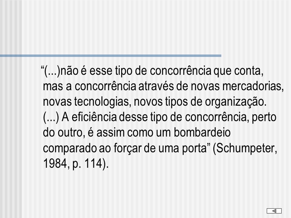 (...)não é esse tipo de concorrência que conta, mas a concorrência através de novas mercadorias, novas tecnologias, novos tipos de organização. (...)