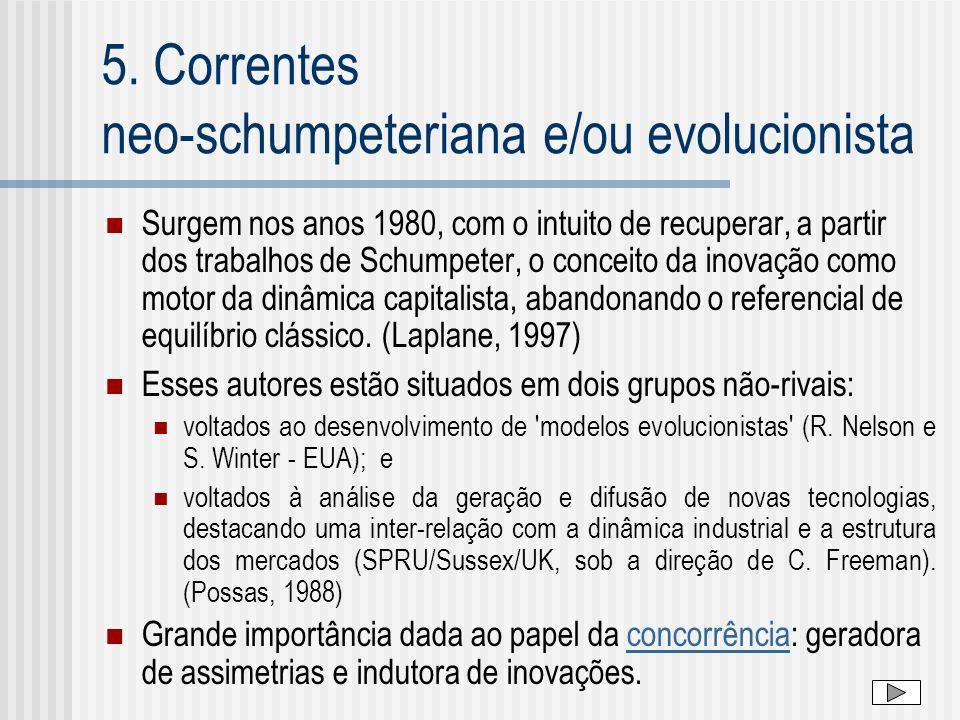 5. Correntes neo-schumpeteriana e/ou evolucionista Surgem nos anos 1980, com o intuito de recuperar, a partir dos trabalhos de Schumpeter, o conceito
