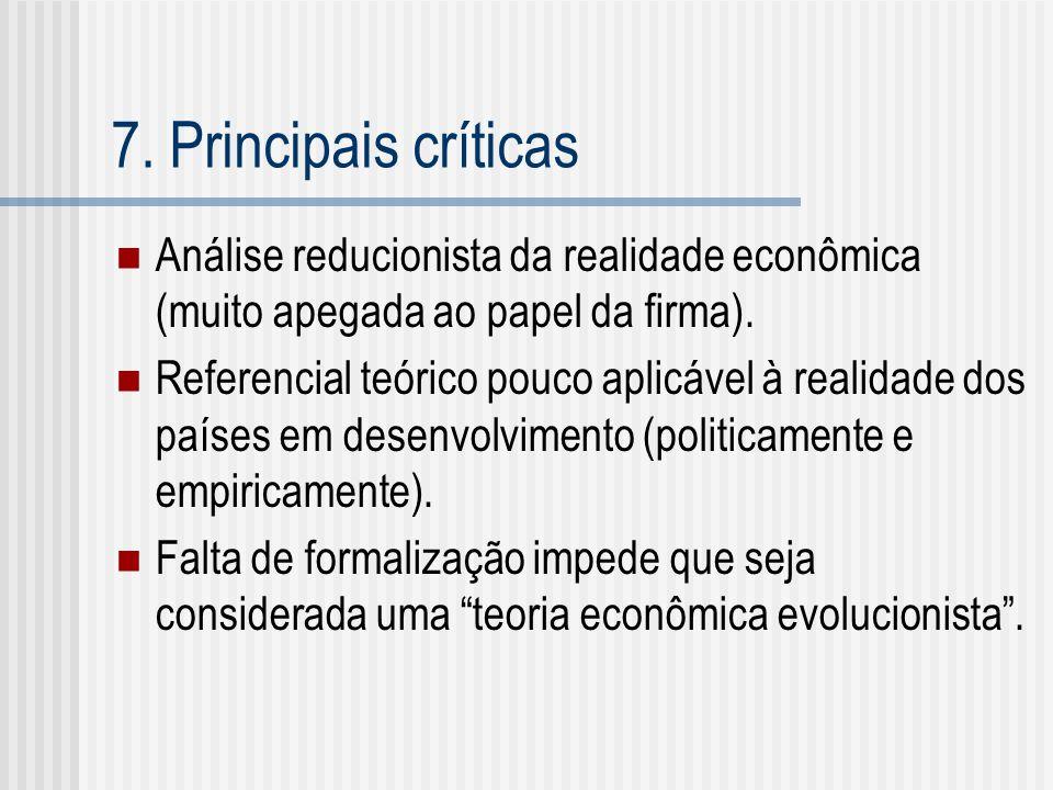 7. Principais críticas Análise reducionista da realidade econômica (muito apegada ao papel da firma). Referencial teórico pouco aplicável à realidade