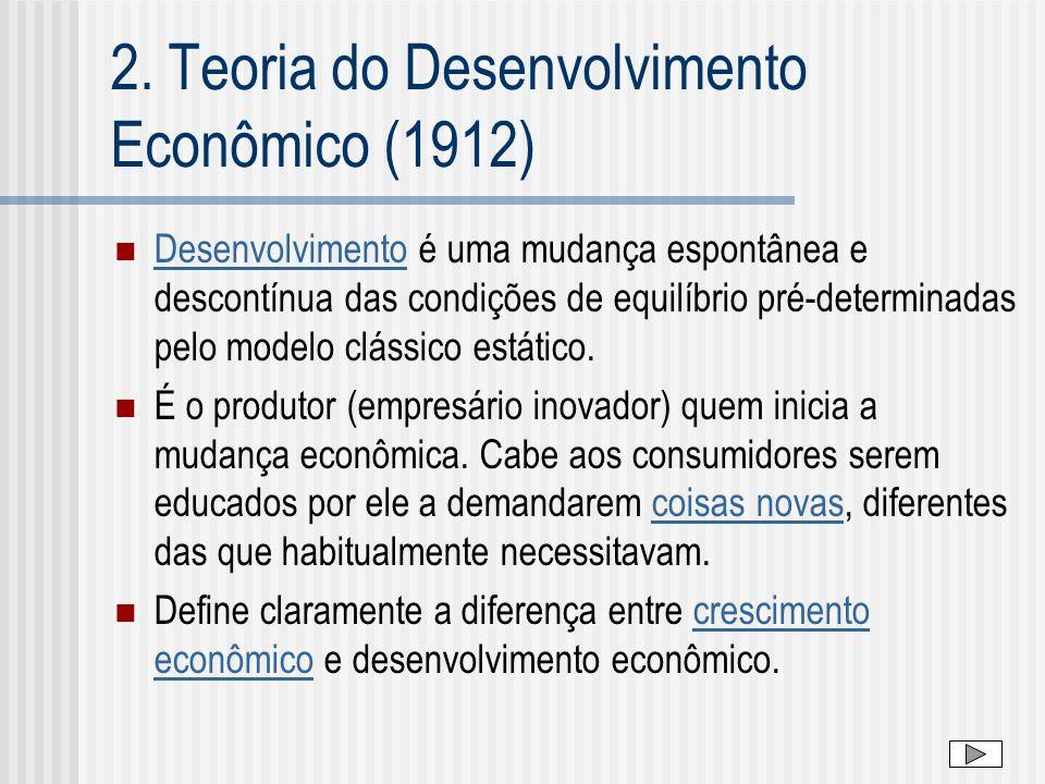 2. Teoria do Desenvolvimento Econômico (1912) Desenvolvimento é uma mudança espontânea e descontínua das condições de equilíbrio pré-determinadas pelo