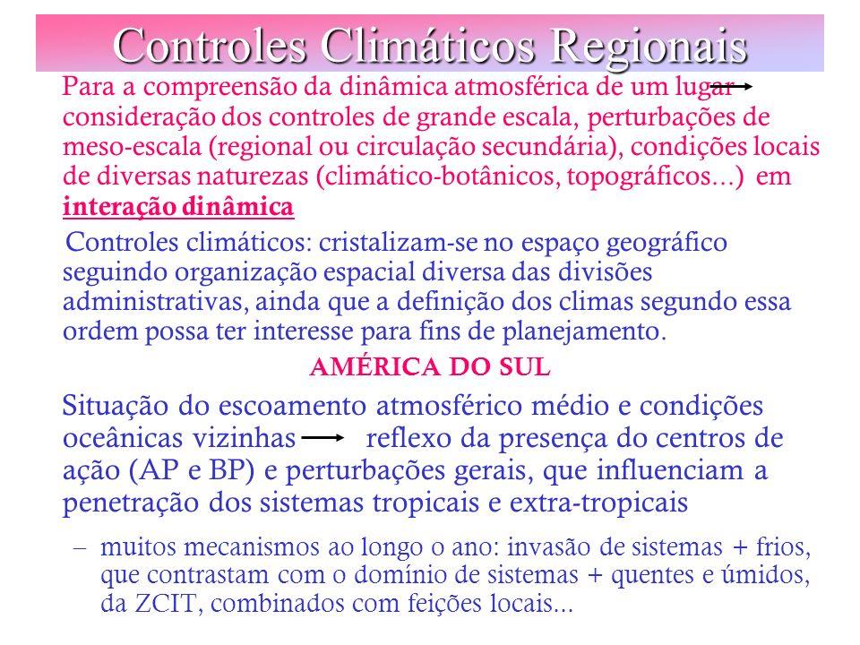 Controles Climáticos Regionais Para a compreensão da dinâmica atmosférica de um lugar consideração dos controles de grande escala, perturbações de mes