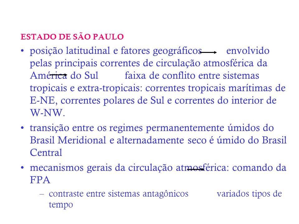 ESTADO DE SÃO PAULO posição latitudinal e fatores geográficos envolvido pelas principais correntes de circulação atmosférica da América do Sul faixa d