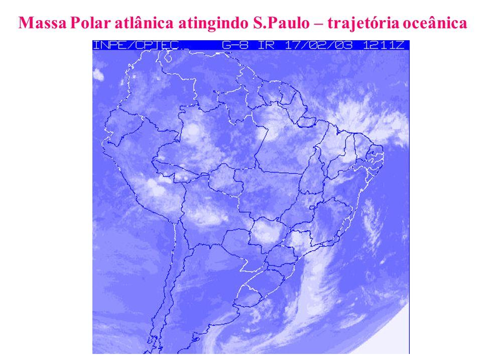 Massa Polar atlânica atingindo S.Paulo – trajetória oceânica