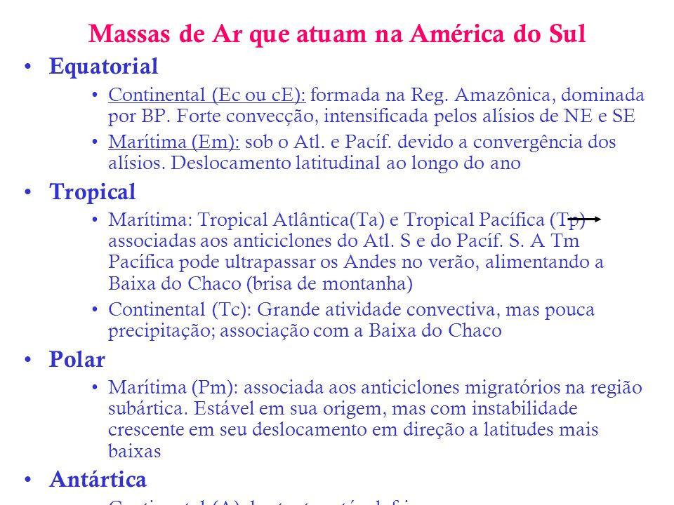 Massas de Ar que atuam na América do Sul Equatorial Continental (Ec ou cE): formada na Reg. Amazônica, dominada por BP. Forte convecção, intensificada
