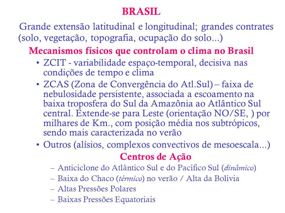 BRASIL Grande extensão latitudinal e longitudinal; grandes contrates (solo, vegetação, topografia, ocupação do solo...) Mecanismos físicos que control