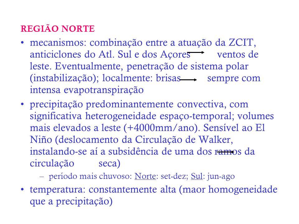 REGIÃO NORTE mecanismos: combinação entre a atuação da ZCIT, anticiclones do Atl. Sul e dos Açores ventos de leste. Eventualmente, penetração de siste