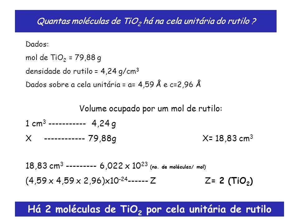 Quantas moléculas de TiO 2 há na cela unitária do rutilo ? Dados: mol de TiO 2 = 79,88 g densidade do rutilo = 4,24 g/cm 3 Dados sobre a cela unitária