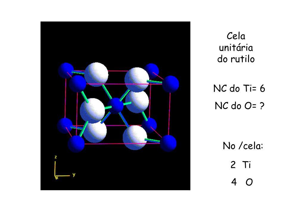 Cela unitária do rutilo NC do Ti= 6 NC do O= ? No /cela: 2 Ti 4 O