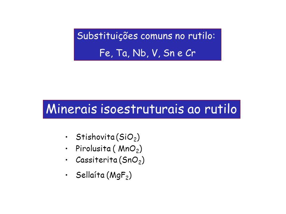Stishovita (SiO 2 ) Pirolusita ( MnO 2 ) Cassiterita (SnO 2 ) Sellaíta (MgF 2 ) Substituições comuns no rutilo: Fe, Ta, Nb, V, Sn e Cr Minerais isoest