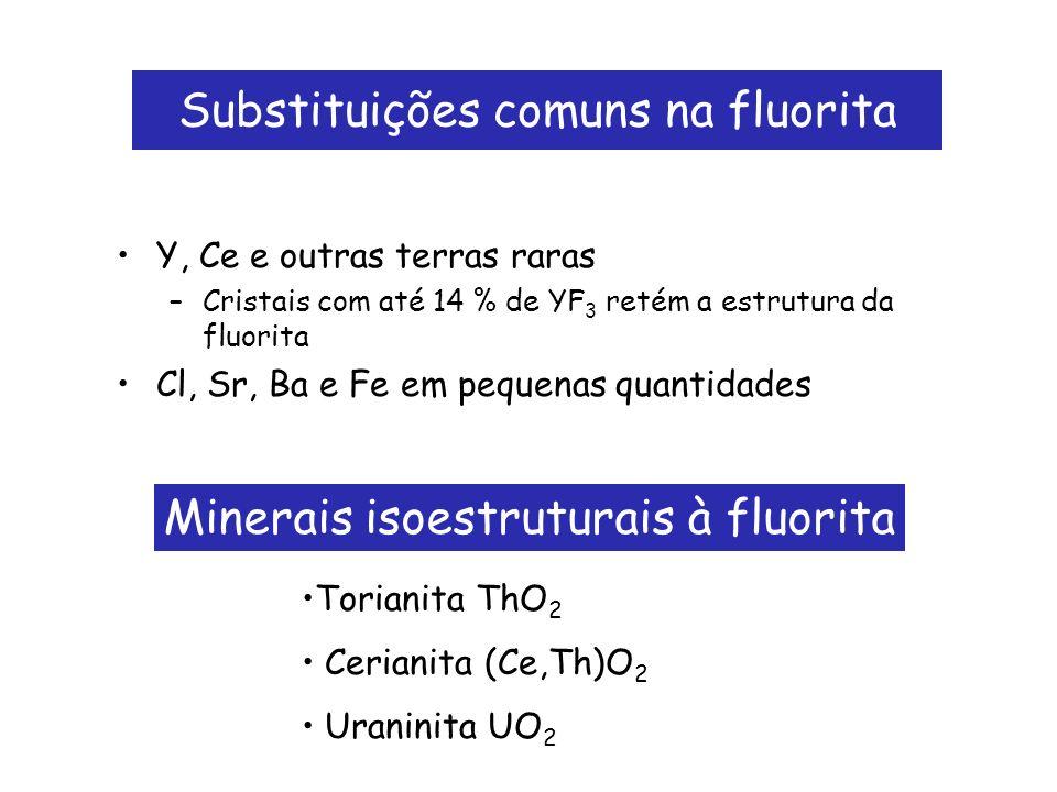 Substituições comuns na fluorita Y, Ce e outras terras raras –Cristais com até 14 % de YF 3 retém a estrutura da fluorita Cl, Sr, Ba e Fe em pequenas