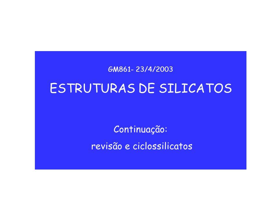GM861- 23/4/2003 ESTRUTURAS DE SILICATOS Continuação: revisão e ciclossilicatos
