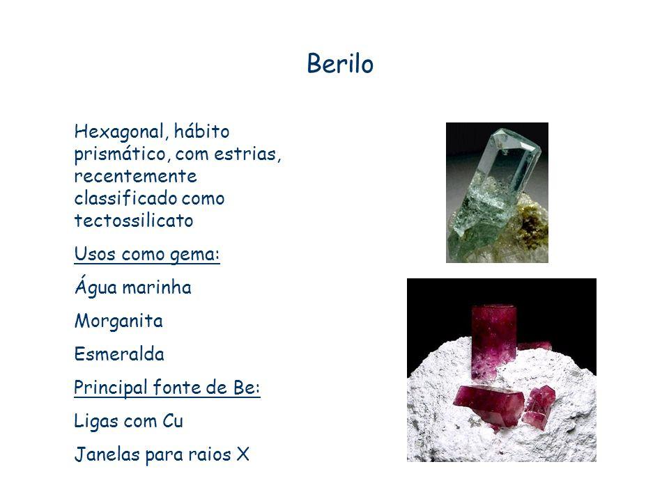 Berilo Hexagonal, hábito prismático, com estrias, recentemente classificado como tectossilicato Usos como gema: Água marinha Morganita Esmeralda Princ
