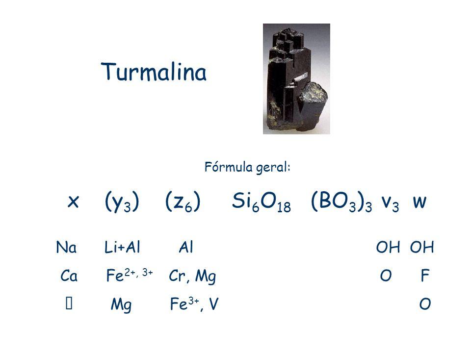 Turmalina Fórmula geral: x (y 3 ) (z 6 ) Si 6 O 18 (BO 3 ) 3 v 3 w Na Li+Al Al OH OH Ca Fe 2+, 3+ Cr, Mg O F Mg Fe 3+, V O