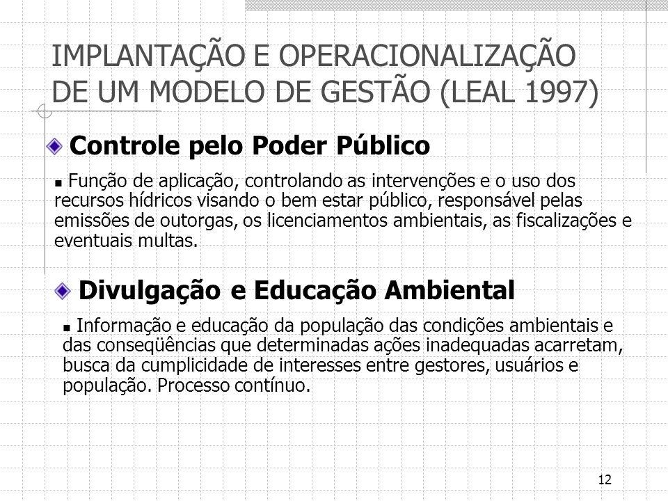 12 Controle pelo Poder Público Função de aplicação, controlando as intervenções e o uso dos recursos hídricos visando o bem estar público, responsável