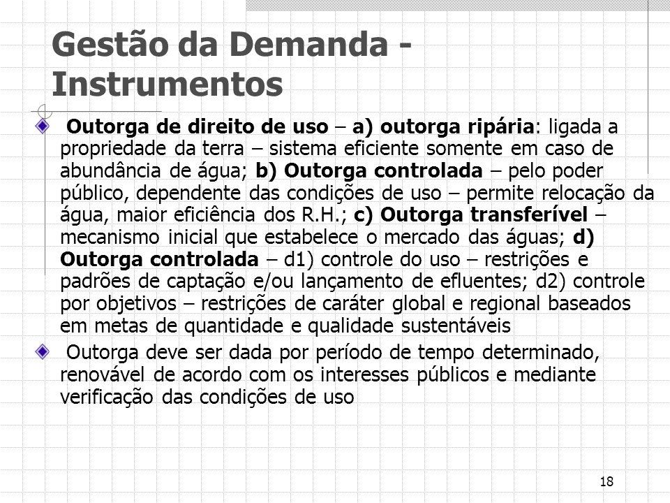 18 Gestão da Demanda - Instrumentos Outorga de direito de uso – a) outorga ripária: ligada a propriedade da terra – sistema eficiente somente em caso
