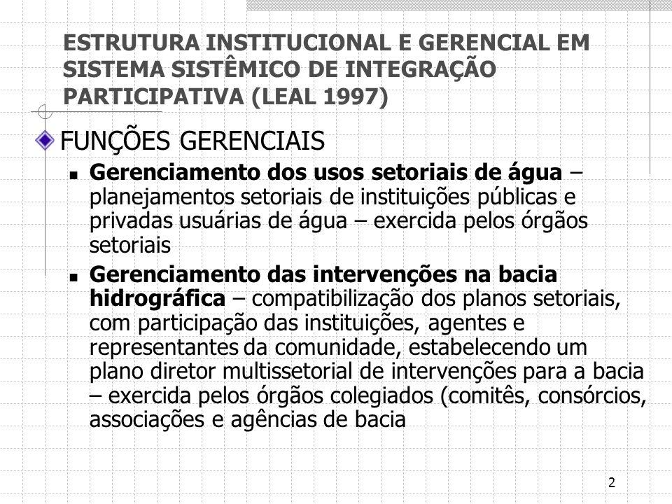 2 ESTRUTURA INSTITUCIONAL E GERENCIAL EM SISTEMA SISTÊMICO DE INTEGRAÇÃO PARTICIPATIVA (LEAL 1997) FUNÇÕES GERENCIAIS Gerenciamento dos usos setoriais