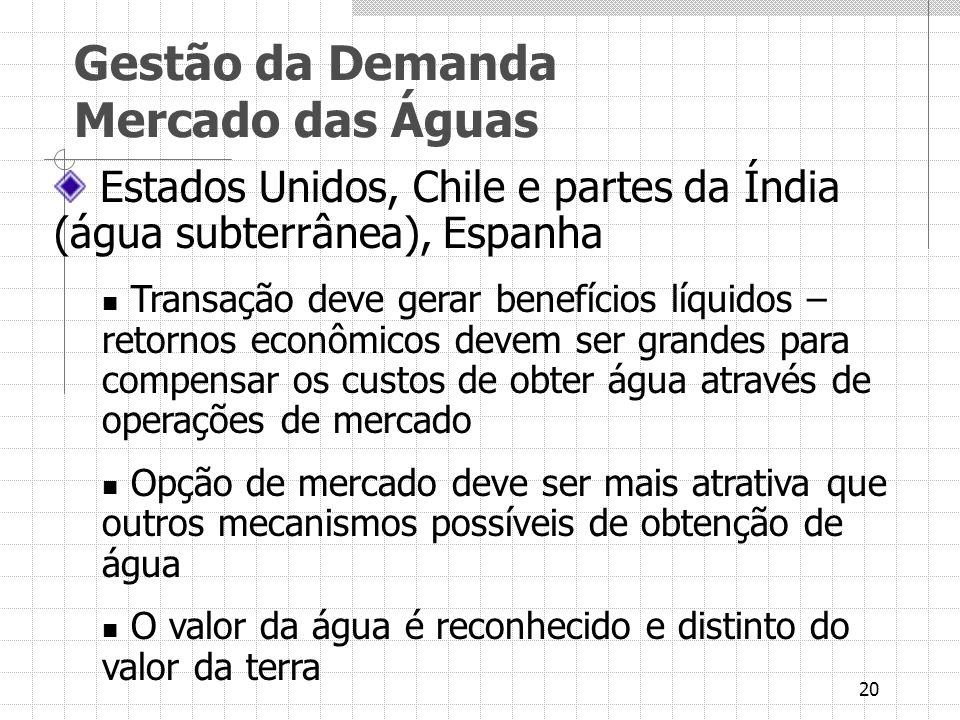 20 Estados Unidos, Chile e partes da Índia (água subterrânea), Espanha Transação deve gerar benefícios líquidos – retornos econômicos devem ser grande
