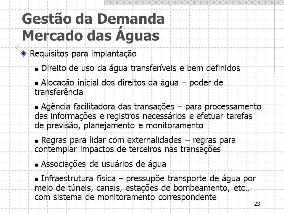 23 Requisitos para implantação Direito de uso da água transferíveis e bem definidos Alocação inicial dos direitos da água – poder de transferência Agê