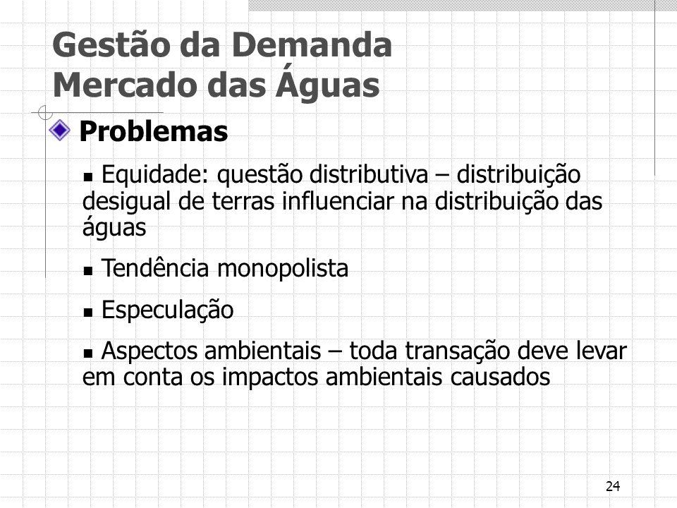 24 Problemas Equidade: questão distributiva – distribuição desigual de terras influenciar na distribuição das águas Tendência monopolista Especulação