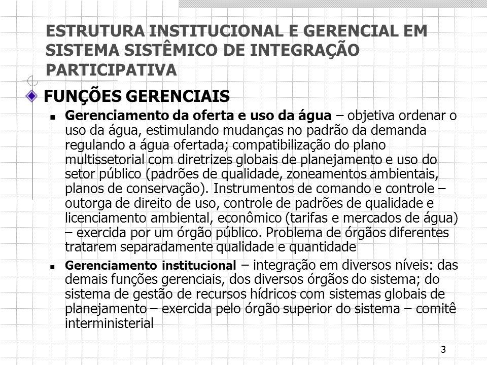 4 IMPLANTAÇÃO E OPERACIONALIZAÇÃO DE UM MODELO DE GESTÃO (LEAL 1997) Arcabouço legal – etapa inicial do processo, sendo definidos: princípios norteadores do modelo (unidades territoriais de gestão, aspectos integradores), sistema institucional e suas atribuições – definição das entidades encarregadas da gestão (órgãos colegiados,secretarias executivas, agências executivas e financeiras instrumentos usados (planos diretores, licenciamentos, outorgas, multas, zoneamentos, instrumentos econômicos)