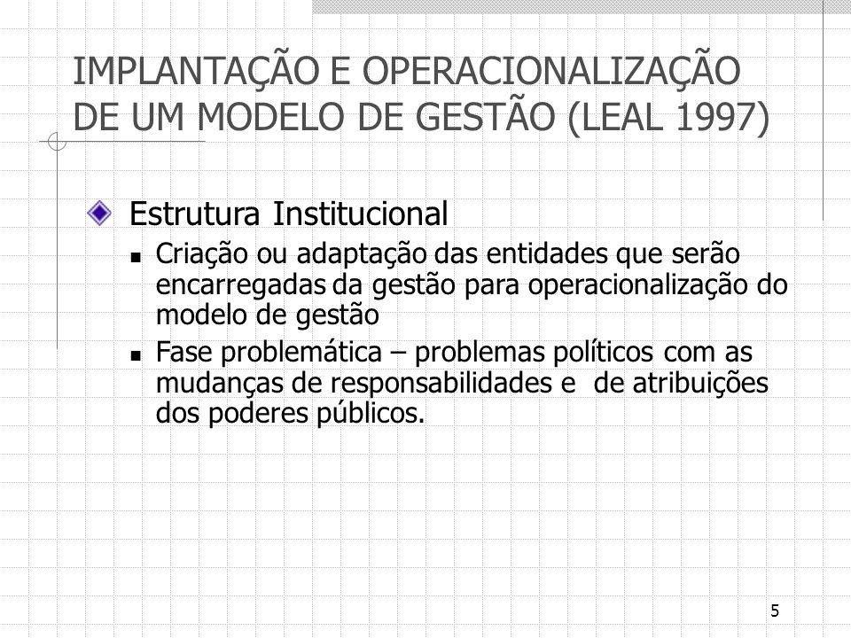 5 IMPLANTAÇÃO E OPERACIONALIZAÇÃO DE UM MODELO DE GESTÃO (LEAL 1997) Estrutura Institucional Criação ou adaptação das entidades que serão encarregadas