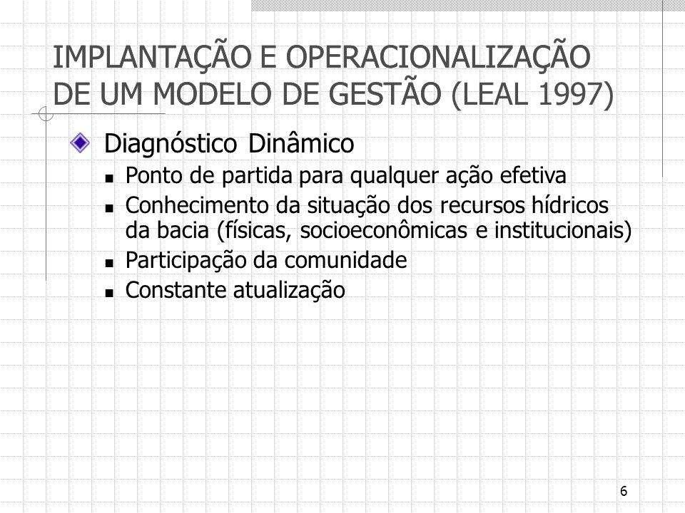 6 IMPLANTAÇÃO E OPERACIONALIZAÇÃO DE UM MODELO DE GESTÃO IMPLANTAÇÃO E OPERACIONALIZAÇÃO DE UM MODELO DE GESTÃO (LEAL 1997) Diagnóstico Dinâmico Ponto