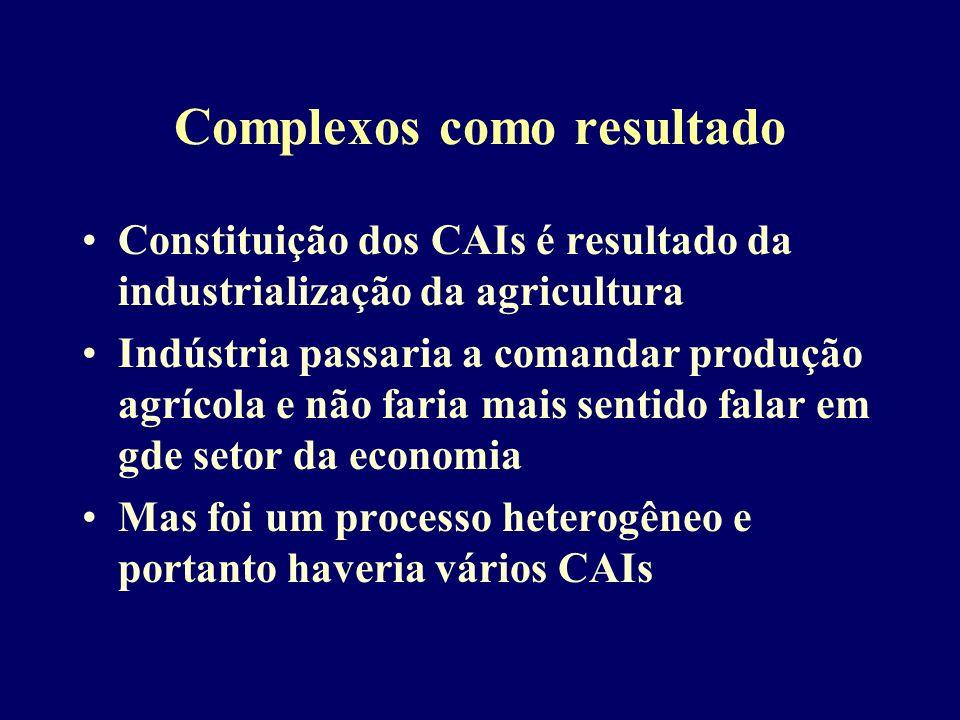 Complexos como resultado Constituição dos CAIs é resultado da industrialização da agricultura Indústria passaria a comandar produção agrícola e não faria mais sentido falar em gde setor da economia Mas foi um processo heterogêneo e portanto haveria vários CAIs