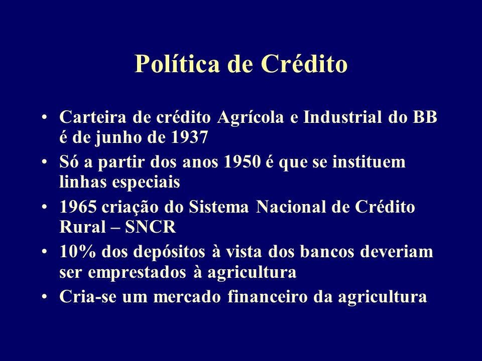 Política de Crédito Carteira de crédito Agrícola e Industrial do BB é de junho de 1937 Só a partir dos anos 1950 é que se instituem linhas especiais 1965 criação do Sistema Nacional de Crédito Rural – SNCR 10% dos depósitos à vista dos bancos deveriam ser emprestados à agricultura Cria-se um mercado financeiro da agricultura