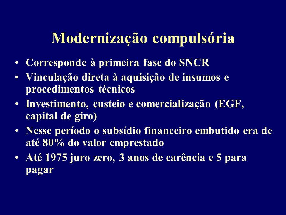 Modernização compulsória Corresponde à primeira fase do SNCR Vinculação direta à aquisição de insumos e procedimentos técnicos Investimento, custeio e comercialização (EGF, capital de giro) Nesse período o subsídio financeiro embutido era de até 80% do valor emprestado Até 1975 juro zero, 3 anos de carência e 5 para pagar
