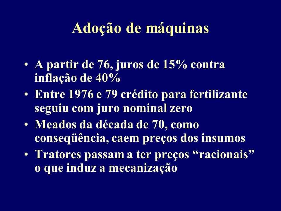 Adoção de máquinas A partir de 76, juros de 15% contra inflação de 40% Entre 1976 e 79 crédito para fertilizante seguiu com juro nominal zero Meados d