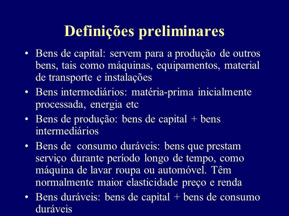Definições preliminares Bens de capital: servem para a produção de outros bens, tais como máquinas, equipamentos, material de transporte e instalações
