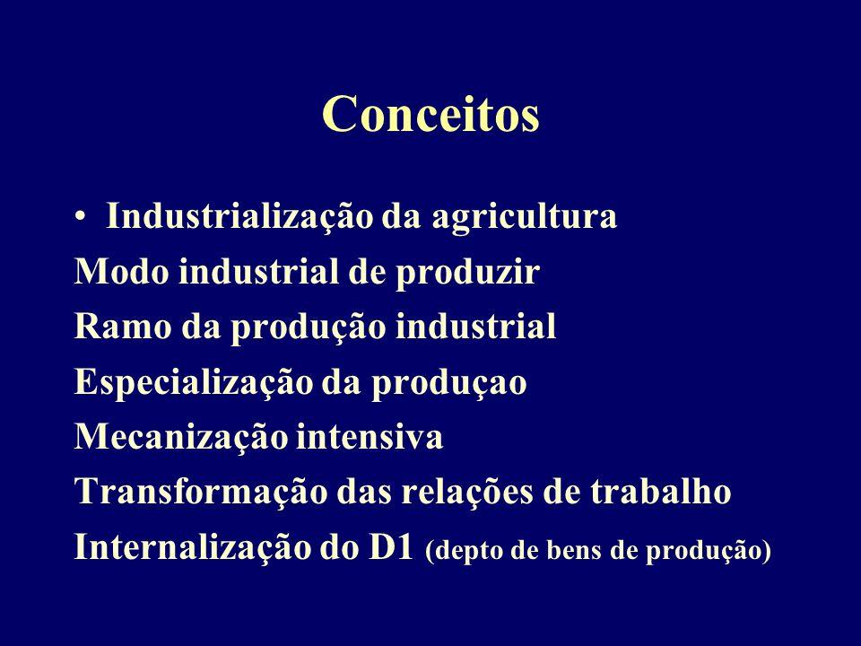 Conceitos Industrialização da agricultura Modo industrial de produzir Ramo da produção industrial Especialização da produçao Mecanização intensiva Transformação das relações de trabalho Internalização do D1 (depto de bens de produção)
