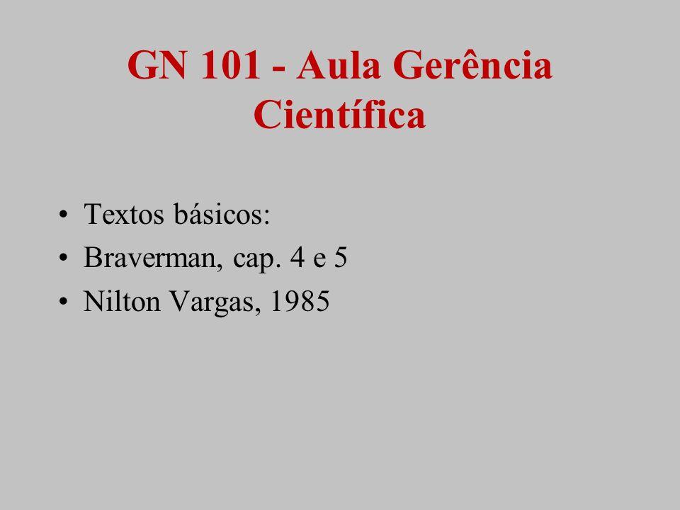 GN 101 - Aula Gerência Científica Textos básicos: Braverman, cap. 4 e 5 Nilton Vargas, 1985