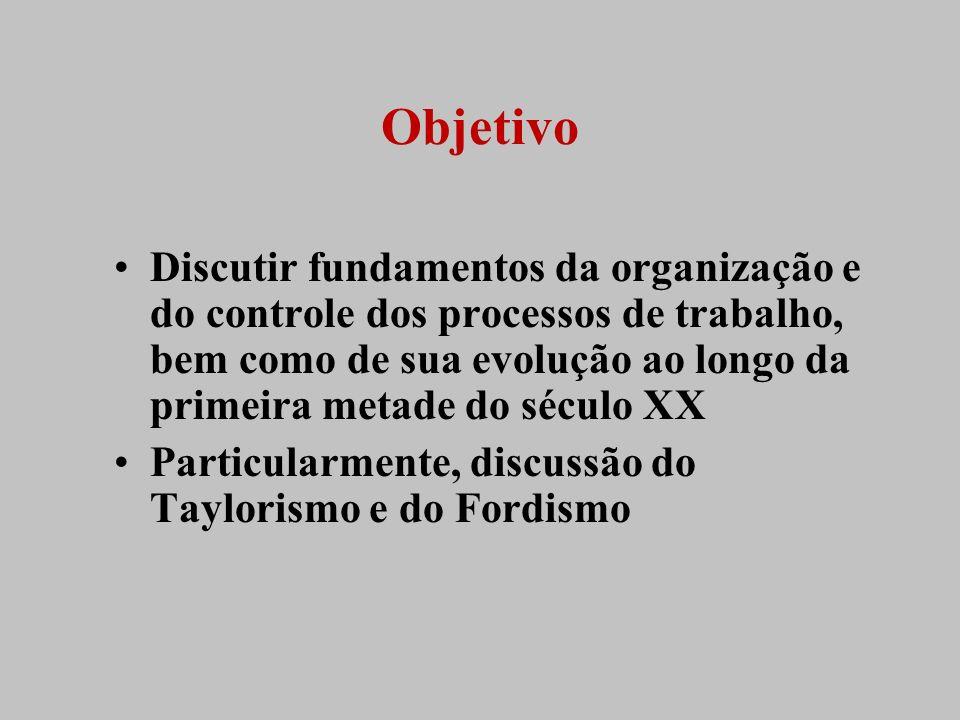 Objetivo Discutir fundamentos da organização e do controle dos processos de trabalho, bem como de sua evolução ao longo da primeira metade do século X