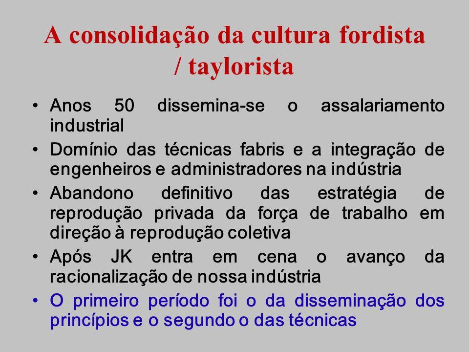 A consolidação da cultura fordista / taylorista Anos 50 dissemina-se o assalariamento industrial Domínio das técnicas fabris e a integração de engenhe
